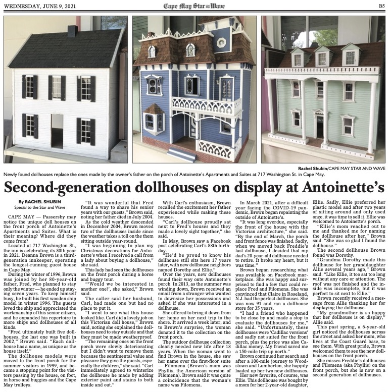 Article on the dollhouses in Cape May