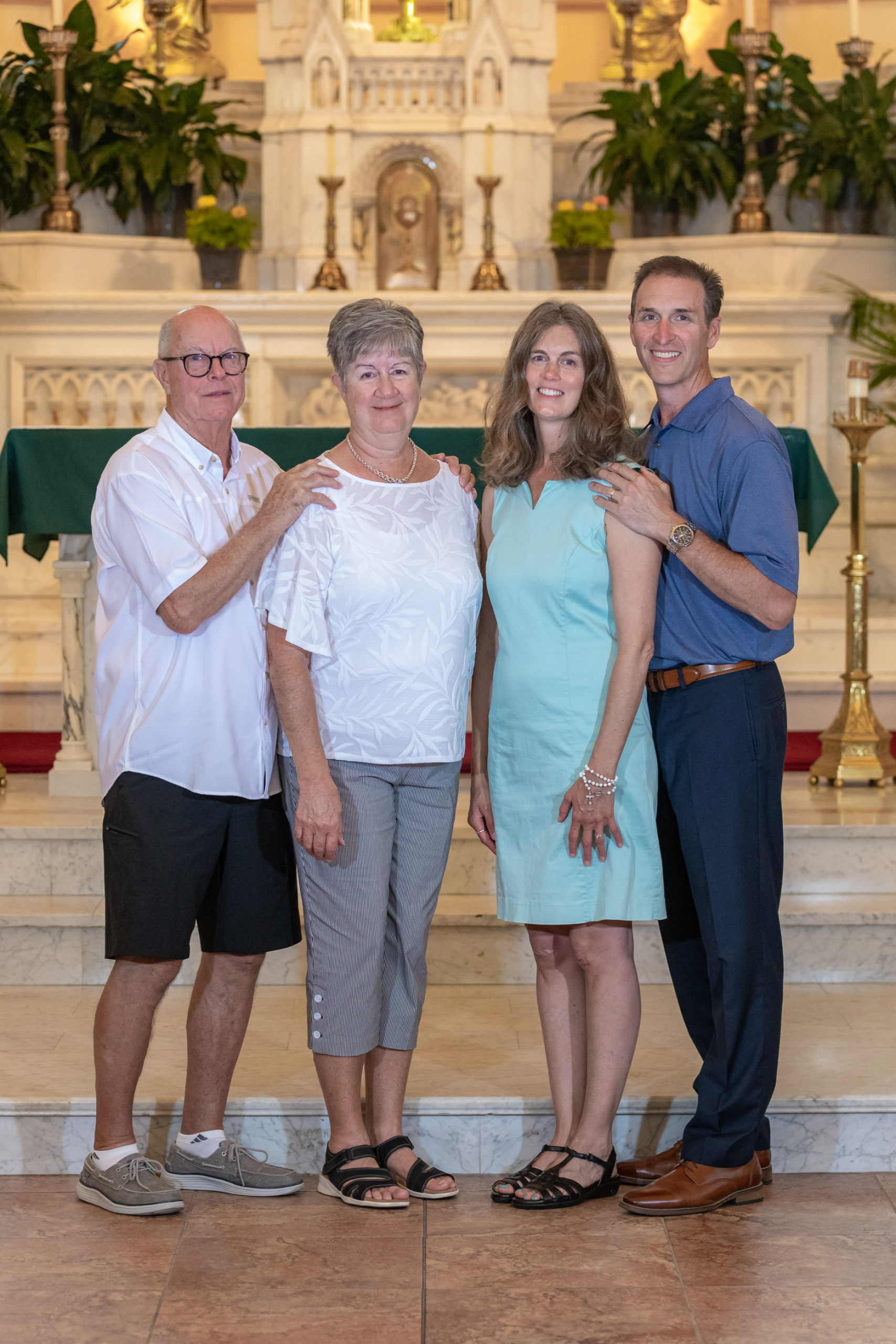 two couples in a church