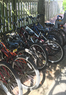 Assortment of adult and child bikes on bike rack